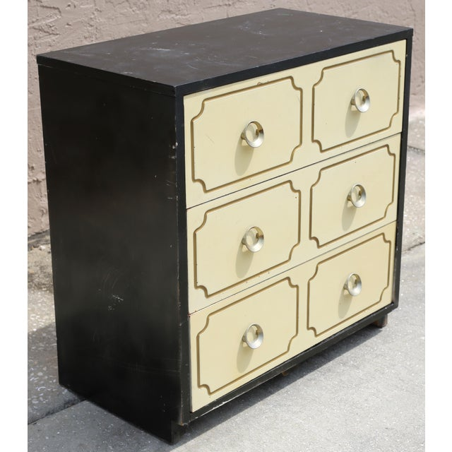 Vintage Hollywood Regency Dorothy Draper Espana Style Hollywood Regency Chest ivory and black with gold accents and...