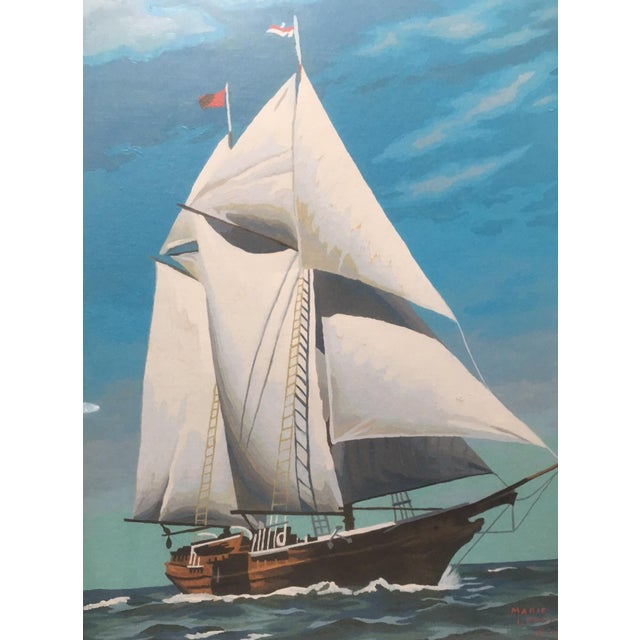 Mid-Century Painting by Number Sailing Schooner by Marie Lokey, 1974 - Image 3 of 4