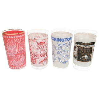 Vintage Travel Themed Tumbler Glasses - Set of 4