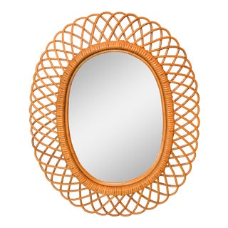 Handcrafted Vintage Oval Rattan Mirror For Sale