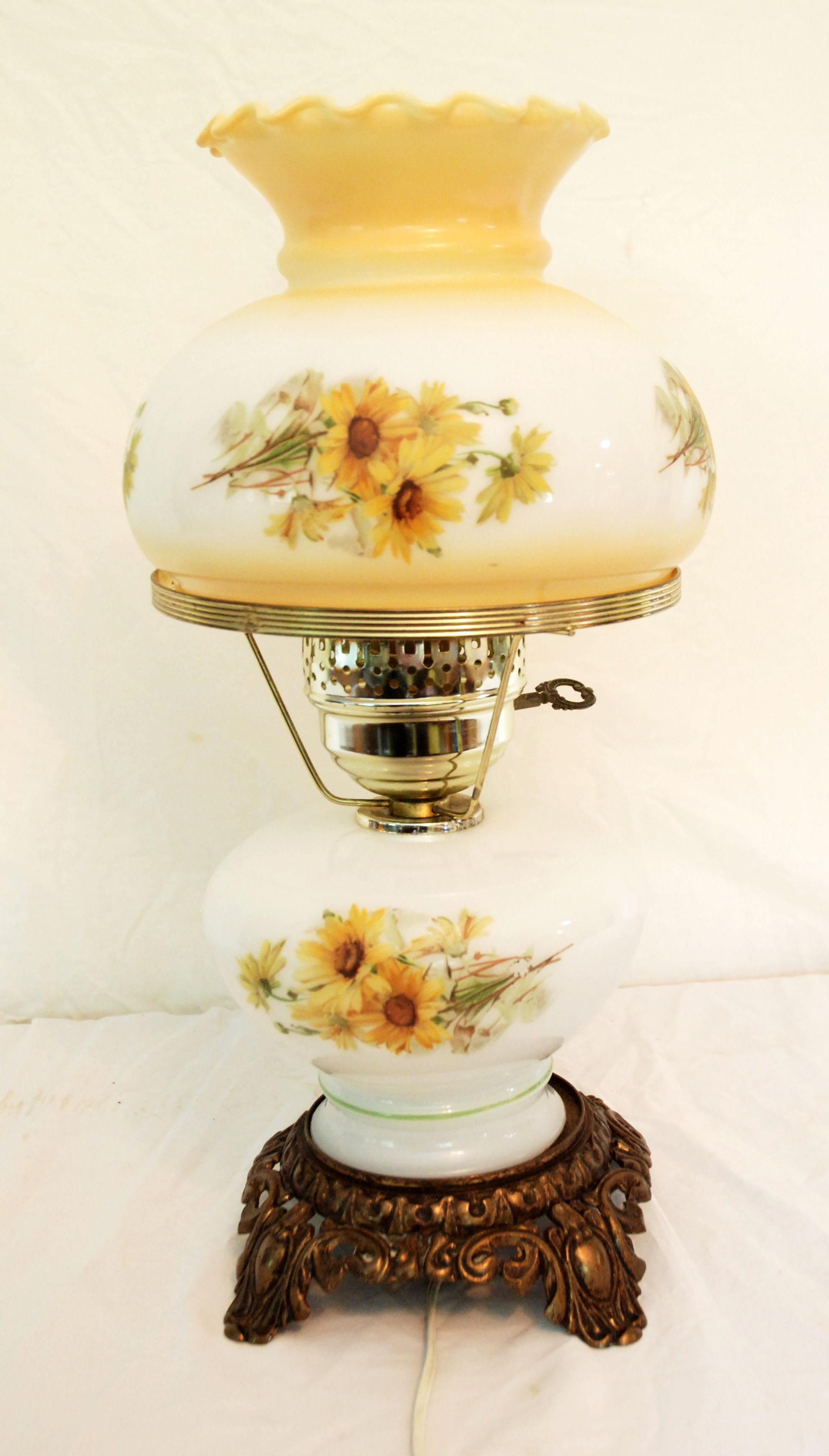 Mid Century Victorian Style Glass Hurricane Table Lamp   Image 2 Of 3