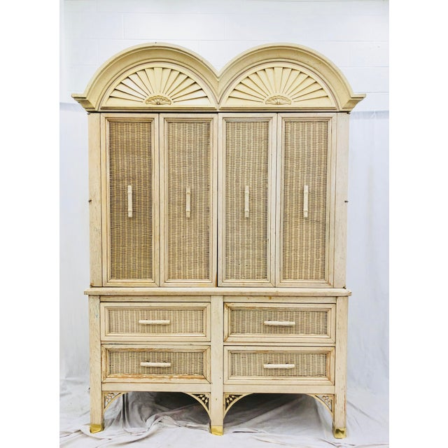 Stunning Vintage Mid Century Era Faux Bamboo Chinese Chippendale Style Hutch with Shiny Gold Brass Fittings, Bamboo Shaped...