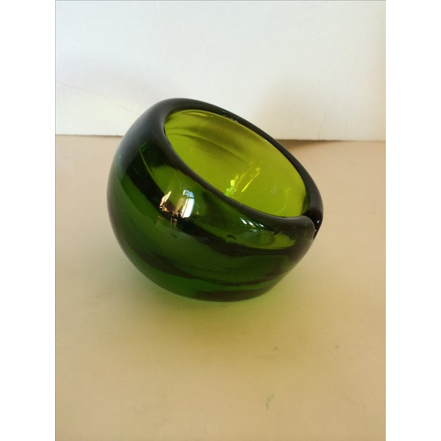 Viking Glass Tilted Orb Ashtrays - A Pair - Image 2 of 6