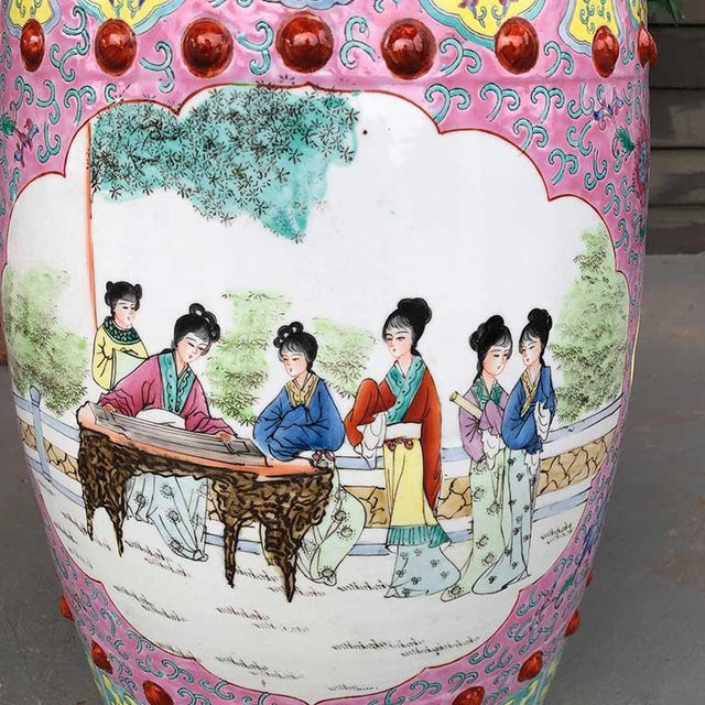 Asian 1960s Chinoiserie Chinese Famille Rose Pink Yellow Ceramic Garden Seat Stool For Sale - Image 3 of 10