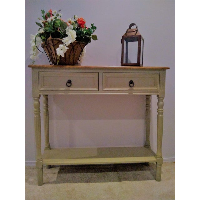 Walnut Farmhouse Console Table For Sale - Image 4 of 5