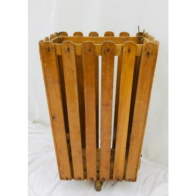 Charming Antique Wooden Slat Rolling Cart. Original finish fittings and frame. Perfectly kitschy and charming! Great for...