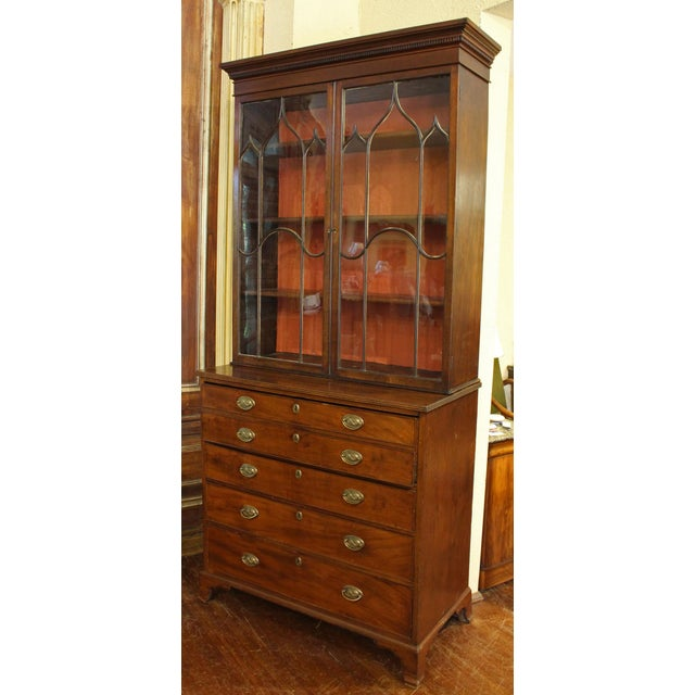 18th Century George III Bookcase Secretaire For Sale - Image 9 of 9