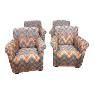 Club Accent Chairs in Multi-Colored Fabric - Set of 4 For Sale