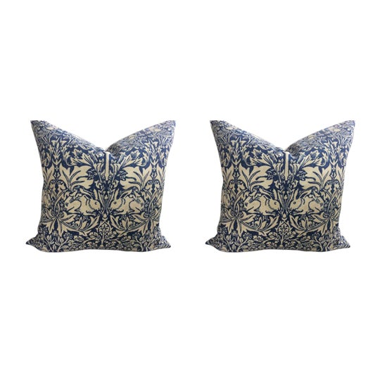 "William Morris ""Brer Rabbit"" in Indigo & Off-White Pillows - a Pair For Sale"