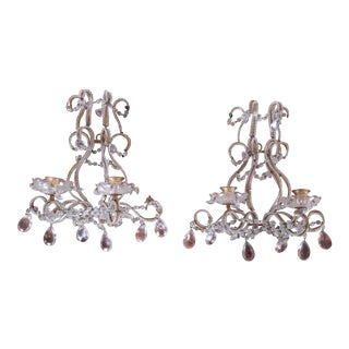 Pair of Antique Italian Baroque Wall Sconces in Crystal, Brass, and Gilt Metal For Sale