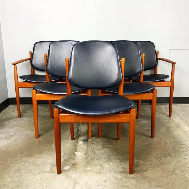 Rare Set of 6 Dining Chairs by Arne Vodder With New Upholstery For Sale - Image 13 of 13