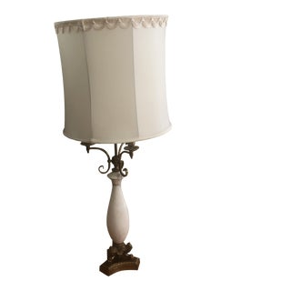 Mid-Century Stiffel White Marble and Brass Lamp For Sale