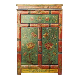 Orange Red Green Tibetan Floral End Table Nightstand Cabinet