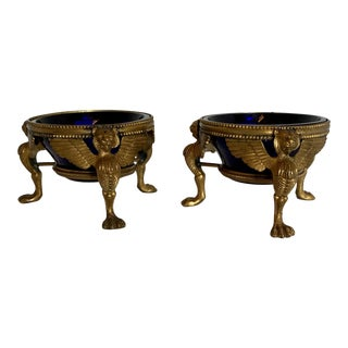 Gilt Egyptian Revival Open Salt Cellars With Cobalt Glass Liners - a Pair For Sale
