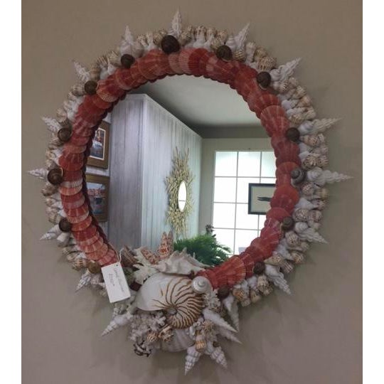 Boho Chic Red Pectin Shell Wreath Round Wall Mirror For Sale - Image 3 of 3