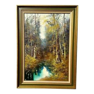 Vintage Hans Wagner Signed Original Oil Painting Modernist Forest Landscape For Sale