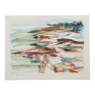 Vintage Hand-Colored Lithograph of Abstract Coastal Scene For Sale