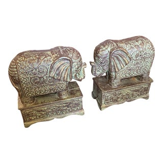 Metal African Elephant Bookends - a Pair For Sale