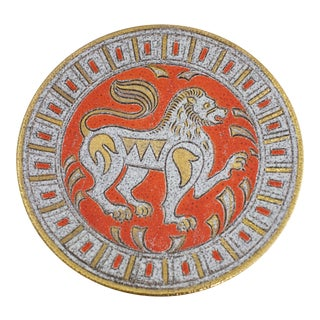 Italian Sgrafitto Lion Bowl For Sale
