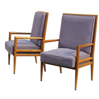 Pair of Solid Oak Armchairs after T.H. Robsjohn-Gibbings For Sale