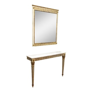 Neoclassical Style Wall Console and Mirror with Greek Key Motif - a Pair For Sale