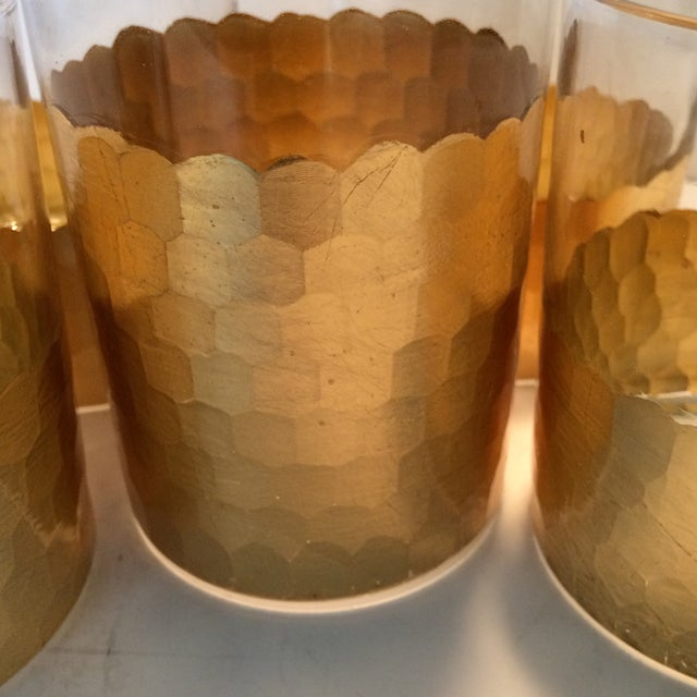 Fitz & Floyd Gold Scalloped Crystal Bourbon Set For Sale - Image 9 of 11