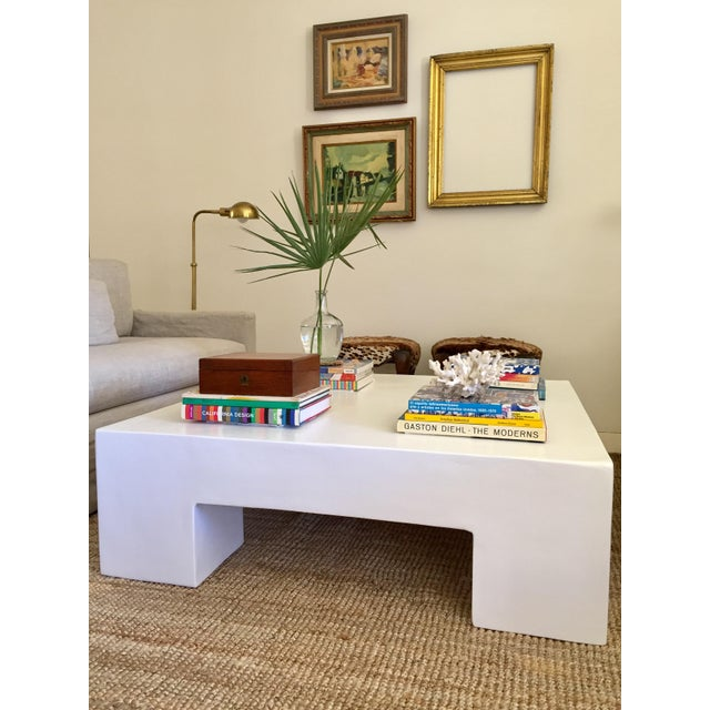 """Our large 45x45x14"""" hand crafted (made to order), white plaster chunky coffee table is versatile, chic, & adds an unique..."""