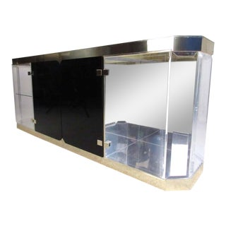Mid-Century Modern Lucite and Glass Sideboard For Sale
