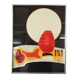 Mid 20th Century Abstract Lithograph Signed Guanse, Framed For Sale
