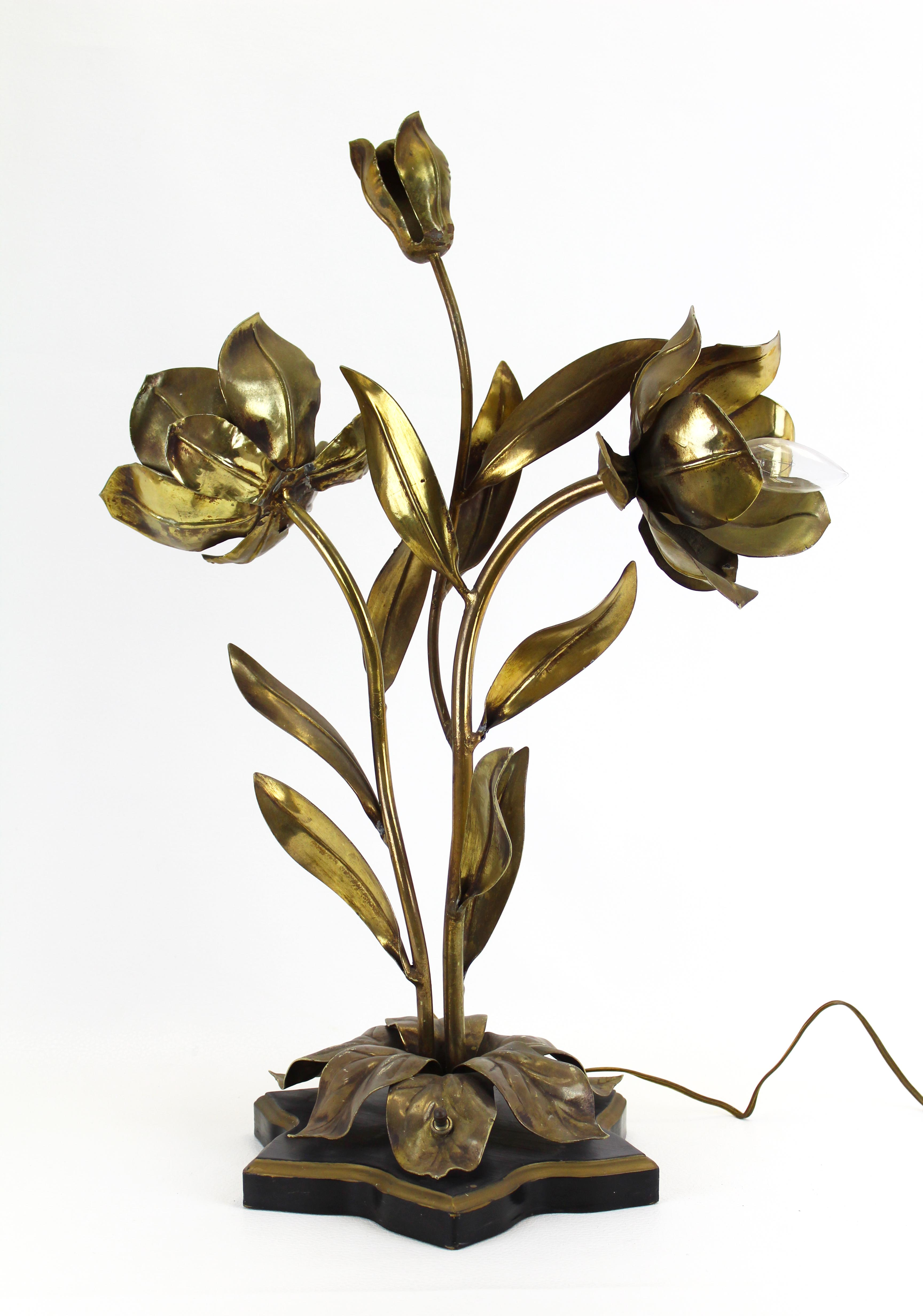 Vintage Metal Floral Table Lamp Chairish