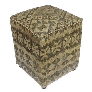 Arshs Danille Tan/Gray Kilim Upholstered Handmade Ottoman