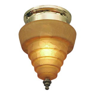 1920s Flush-Mounted Crackle-Glass Orange Ceiling Fixture, Frankart Style For Sale
