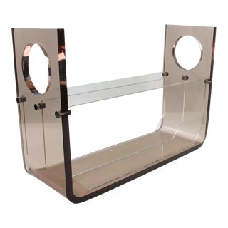 Roche Bobois France 1970s Smoked Gray Lucite Magazine Rack Stand For Sale