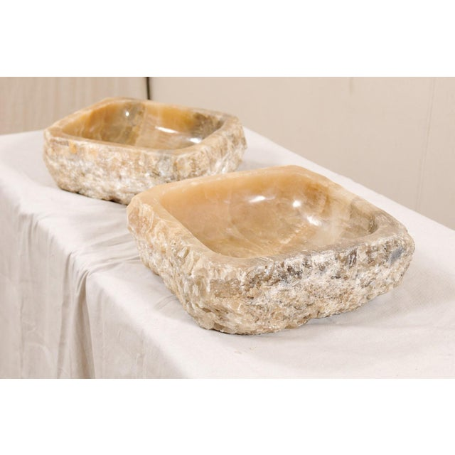 Pair of Natural Onyx Sink Basins For Sale In Atlanta - Image 6 of 12