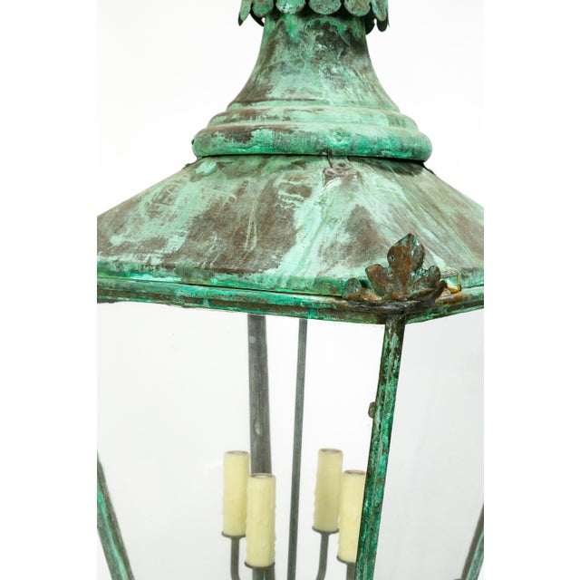 Large English Green Patina Lantern For Sale In San Francisco - Image 6 of 9