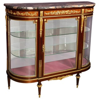 Beautiful French Louis XVI Style Ormolu-Mounted Kingwood Vitrine Commode Cabinet For Sale