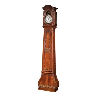 18th Century French Louis XIV Hand Carved Walnut Tall Case Clock With Rooster For Sale