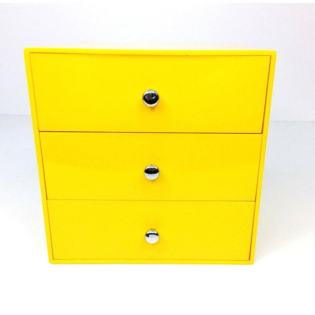 This awesome vintage bright yellow Palaset 3 drawer storage organizer is perfect for your desk or vanity! It is in good...