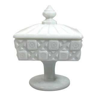 1950s Milk Glass Covered Candy Dish For Sale