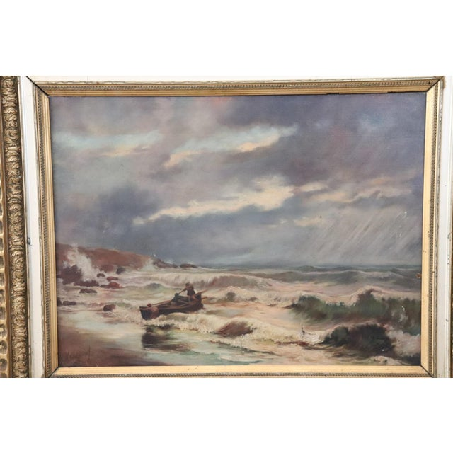 Oil painting on canvas beautiful seascape with characters excellent pictorial quality. Note how the colors contribute...