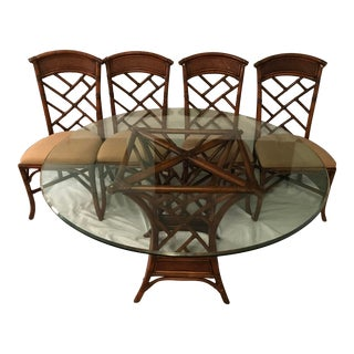 Bassett Vintage Hollywood Regency Chinese Chippendale Rattan Dining Set - 5 Pieces For Sale