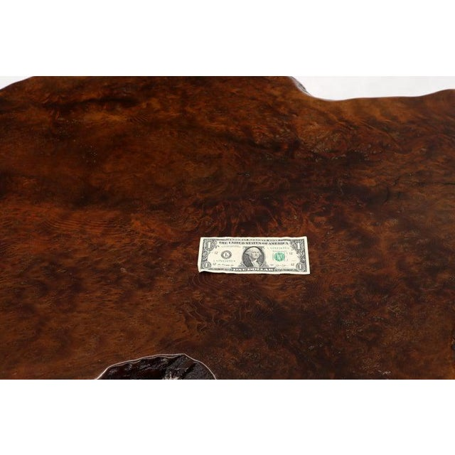 Brown Burl Wood Natural Free Edge Slab Top Gueridon Center Table For Sale - Image 8 of 12