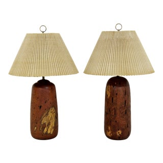 Mid-Century Modern Pair of Turned Wood Table Dimmer Lamps 1960s For Sale