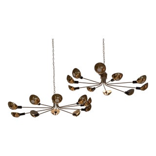Pair of Mid Century Ceiling Mounted Chandeliers, Italy Circa 1955 For Sale