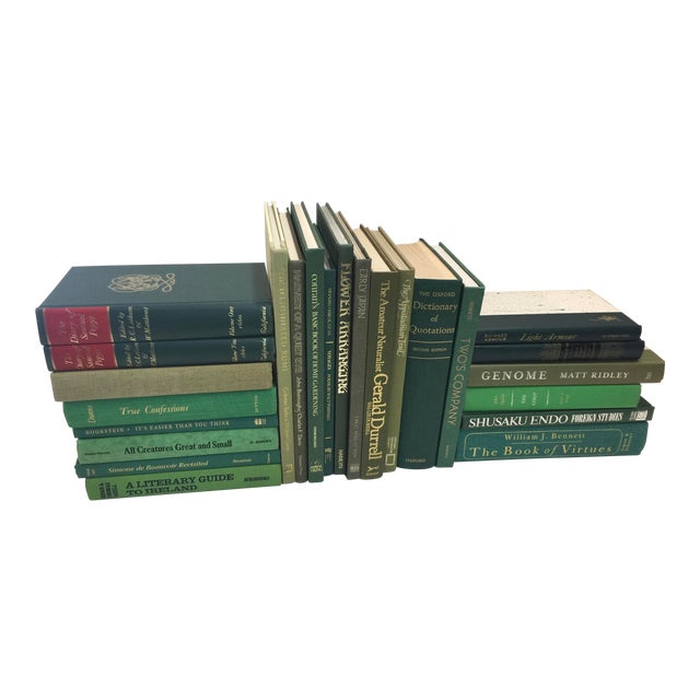 Lot of Green Decorative Books 24 Book Set For Sale