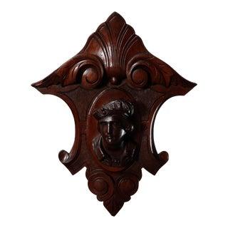 Antique Jelliffe School Hand Carved Male Portrait Architectural Pediment For Sale