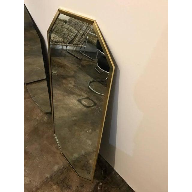 Mid-Century Modern Decorative Brass Framed Octagon Shaped Mirror - Image 4 of 6