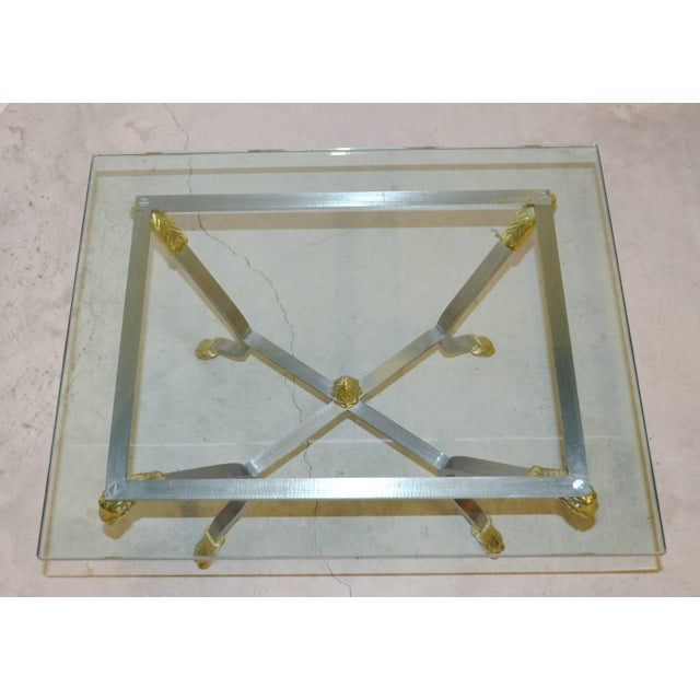Neoclassical Pair of Steel, Brass and Glass Side Tables For Sale - Image 3 of 11