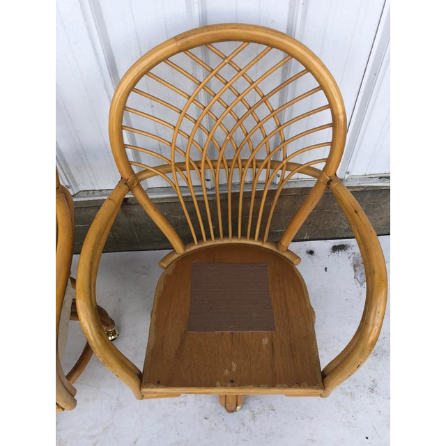 Boho Chic Vintage Glass Top Rattan Table and Wheeled Chairs Set - Set of 5 For Sale - Image 3 of 13