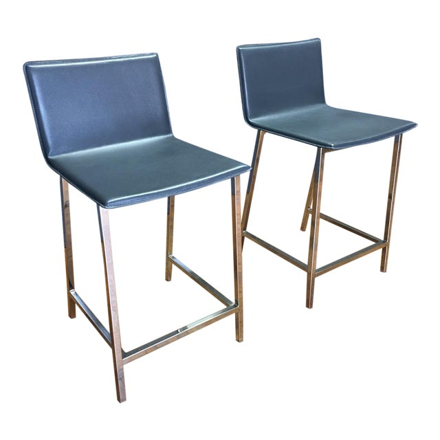 Cb2 Phoenix Navy Blue Counter Stools - Pair For Sale